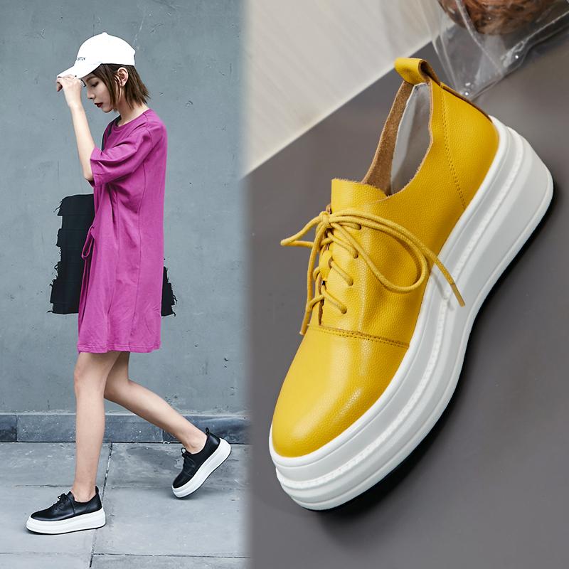黄色松糕鞋 2020春新款坡跟单鞋女真皮圆头厚底系带松糕鞋黄色中跟乐福休闲鞋_推荐淘宝好看的黄色松糕鞋