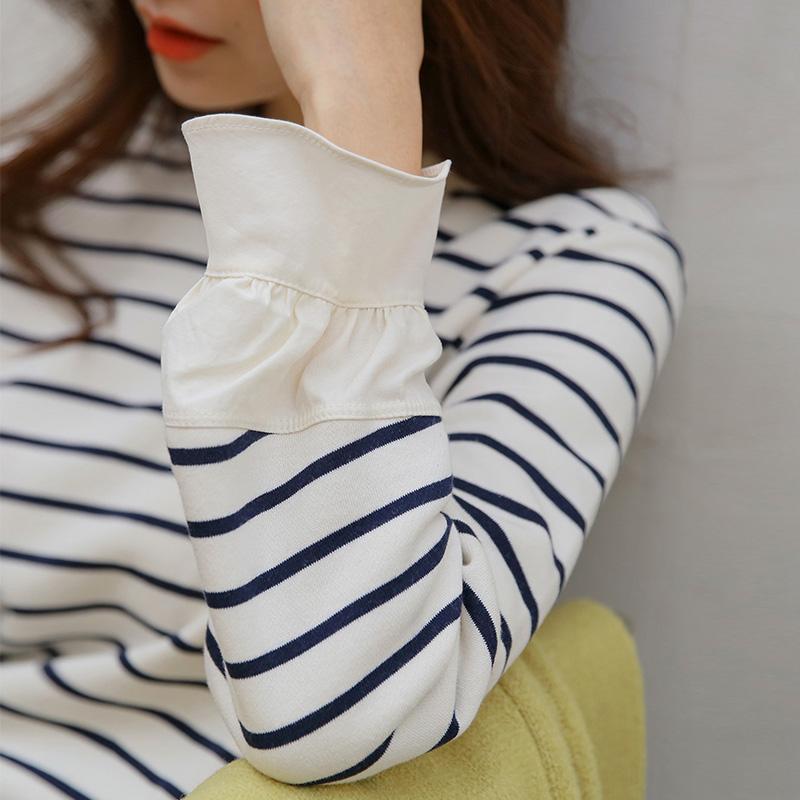 蓝白条纹t恤 2021秋装新款小众设计感韩版宽松纯棉百搭蓝白长袖条纹t恤女上衣_推荐淘宝好看的女蓝白条纹t恤