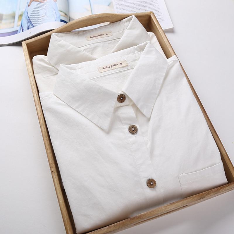 白衬衫 2020春装韩版小清新学生纯棉白色衬衫女长袖职业工装修身打底衬衣_推荐淘宝好看的女白衬衫
