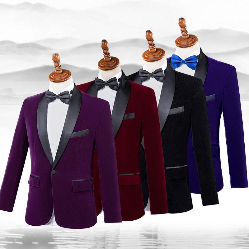 西装男 晚会舞台合唱演出服彩色礼服西装套装主持人歌手男士礼服影楼男装_推荐淘宝好看的西装男
