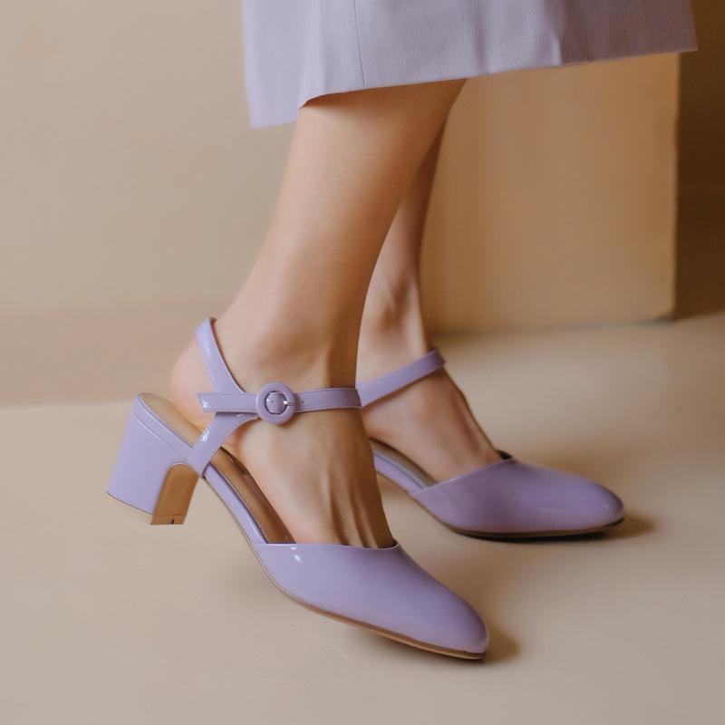 紫色凉鞋 夏天法式少女一字扣带漆皮玛丽珍单鞋女粗跟甜美凉鞋ins紫色chic_推荐淘宝好看的紫色凉鞋