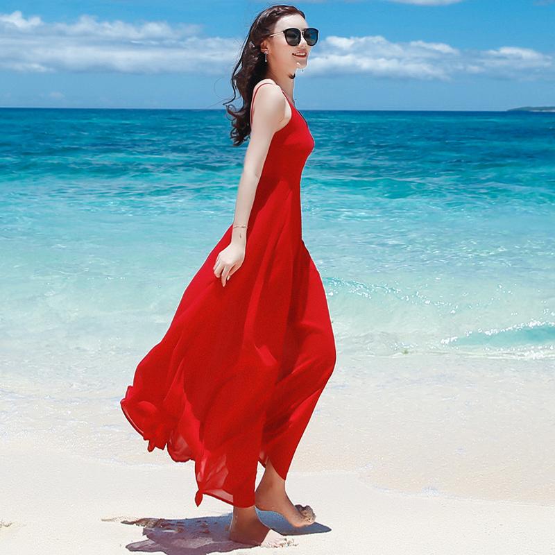 淘宝商城女装连衣裙 2020新款女装红色吊带长裙雪纺连衣裙夏季露背裙子海边渡假沙滩裙_推荐淘宝好看的连衣裙