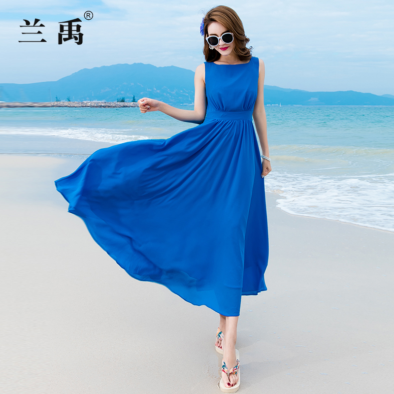 红袖雪纺连衣裙 雪纺连衣裙2020新款夏显瘦长款沙滩裙海边度假旅游裙子超仙小个子_推荐淘宝好看的红袖雪纺连衣裙