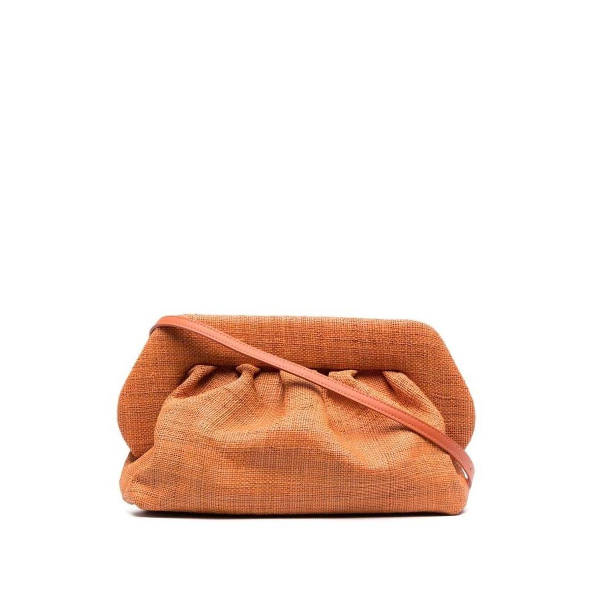 红色草编包 包税代购Themoirè女Bios 杏红色天然拉菲草编织手包2021新款包包_推荐淘宝好看的红色草编包