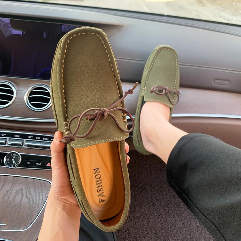 绿色豆豆鞋 2021夏季牛反绒豆豆鞋男真皮软底绿色大码帆船鞋45码46韩版懒人鞋_推荐淘宝好看的绿色豆豆鞋