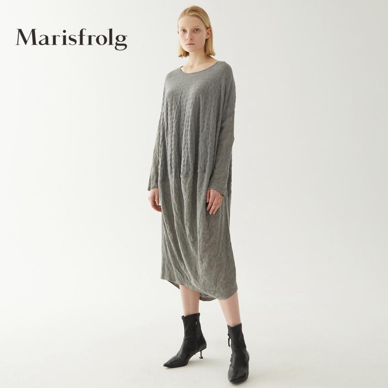 玛丝菲尔女装折扣店 【设计师方姐严选】玛丝菲尔羊毛灰色连衣裙中长款裙子_推荐淘宝好看的玛丝菲尔