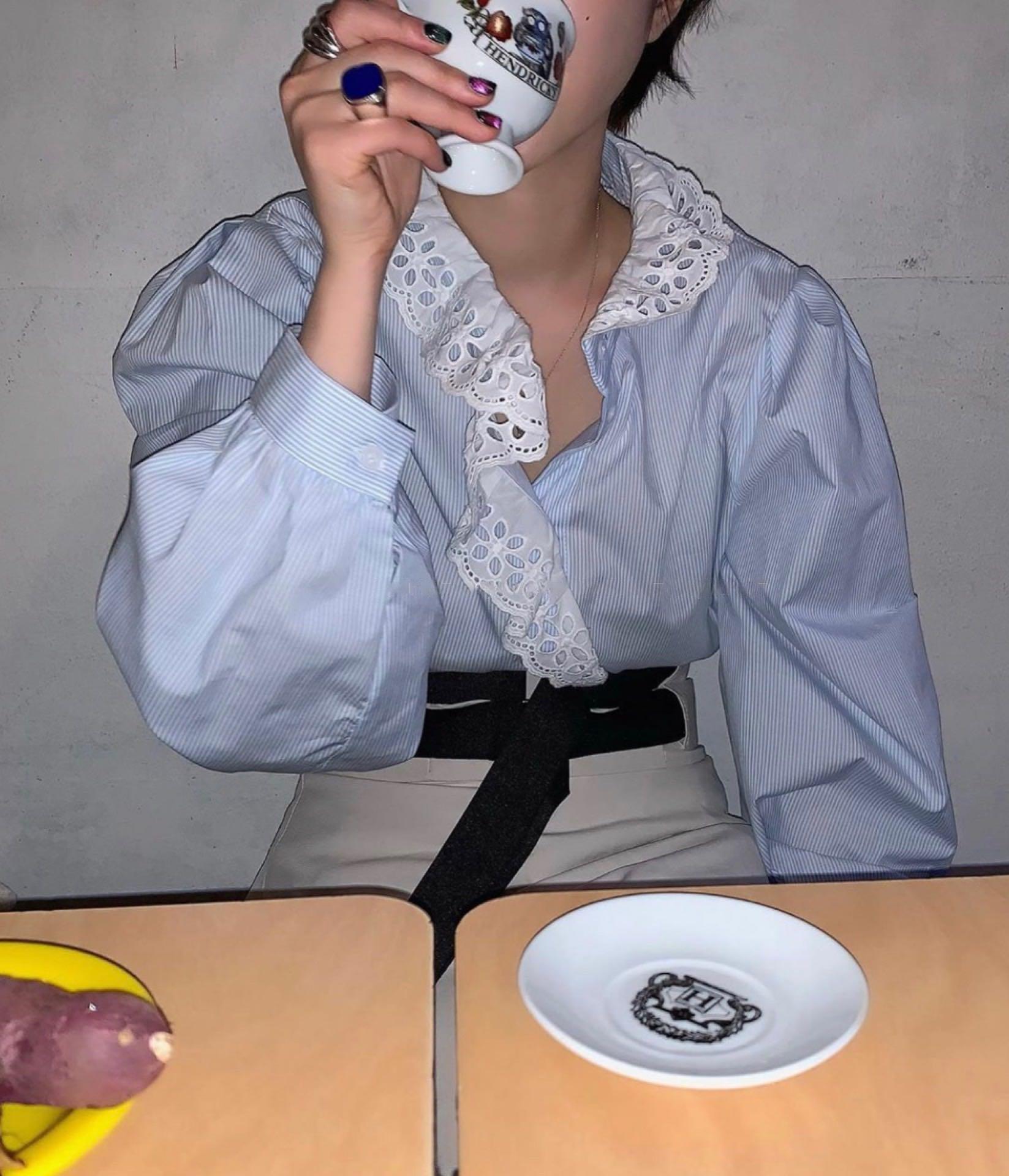 条纹衬衫 label方 自制款 秋季气质条纹百搭荷叶边不规则设计感蓝色衬衫女_推荐淘宝好看的女条纹衬衫
