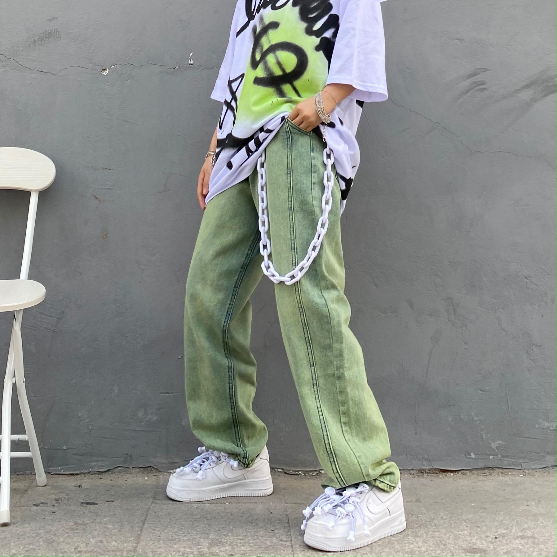 绿色牛仔裤 x不是好人 国潮ek绿色洗水炒色牛仔裤男女同款嘻哈直筒宽松休闲裤_推荐淘宝好看的绿色牛仔裤