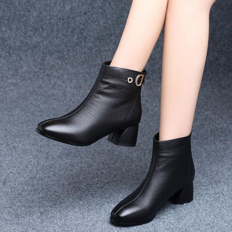 新款高跟鞋 短靴女秋冬新款英伦风百搭中跟粗跟高跟皮鞋冬季加绒春秋单靴20_推荐淘宝好看的女新款高跟鞋
