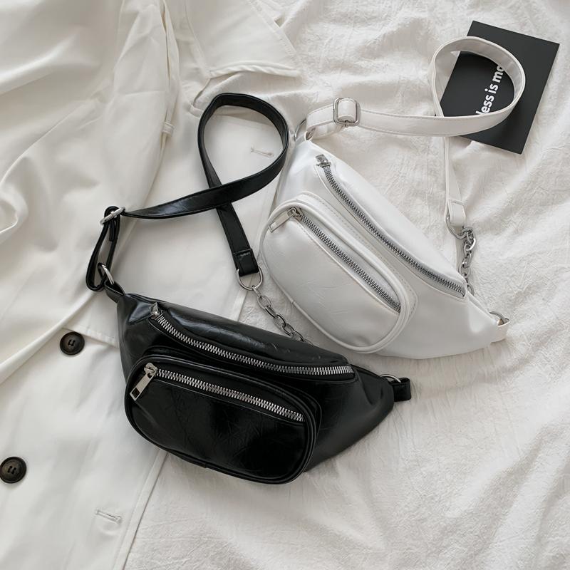 黑色链条包 2020新款小众设计个性ins超火胸包网红同款链条黑色腰包斜挎包女_推荐淘宝好看的黑色链条包