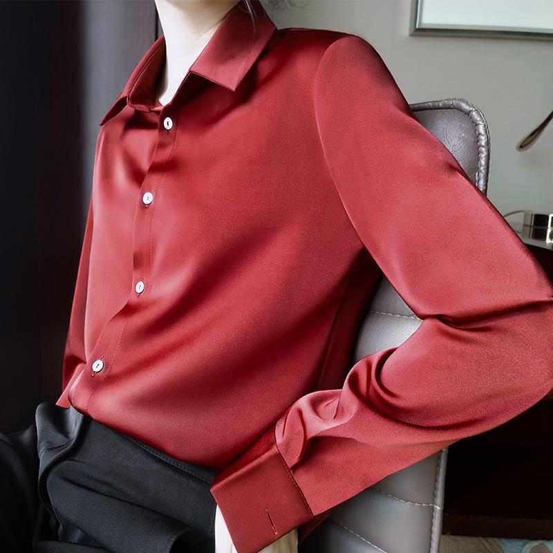 红色衬衫 JACOOBS猩红色衬衫女缎面春秋长袖设计感小众宽松韩版复古港味_推荐淘宝好看的红色衬衫