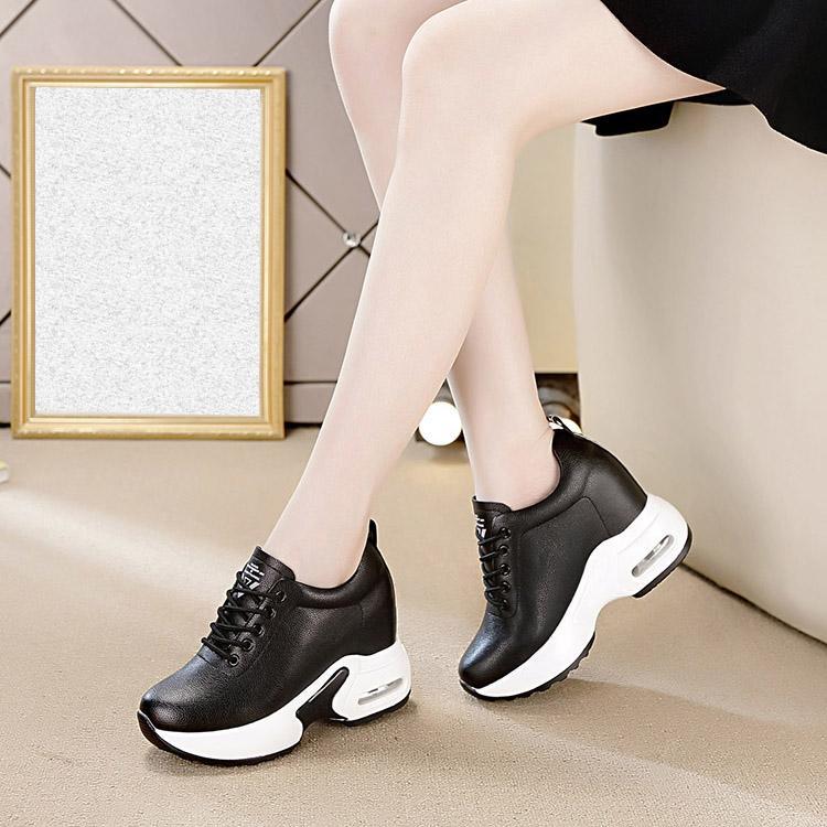 女式松糕鞋 松糕鞋女厚底2020春夏内增高女鞋10CM真皮坡跟单鞋镂空气垫摇摇鞋_推荐淘宝好看的女松糕鞋