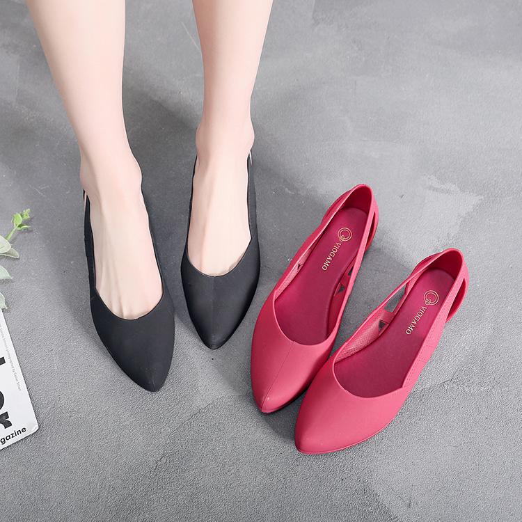 欧美款尖头鞋 2019女新款欧美塑料粗跟中跟尖头包头包跟时装时尚凉鞋单鞋妈妈_推荐淘宝好看的欧美尖头鞋