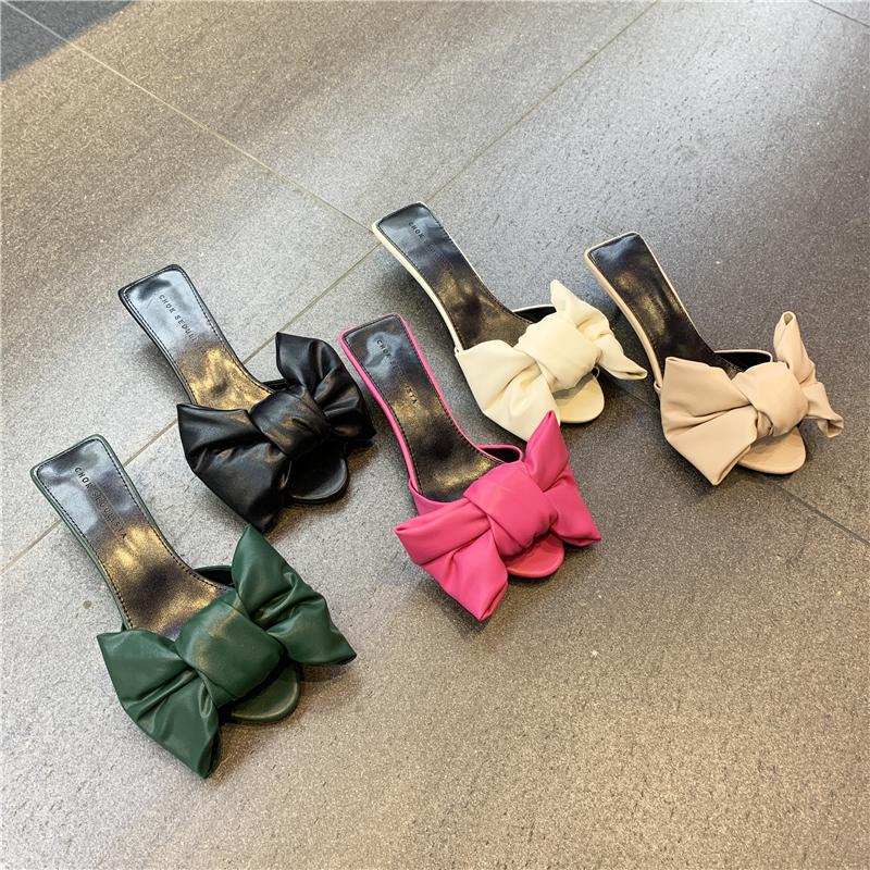 粉红色鱼嘴鞋 2021夏季新款圆头露趾显瘦蝴蝶结粉红色气质甜美细跟猫跟凉拖鞋_推荐淘宝好看的粉红色鱼嘴鞋