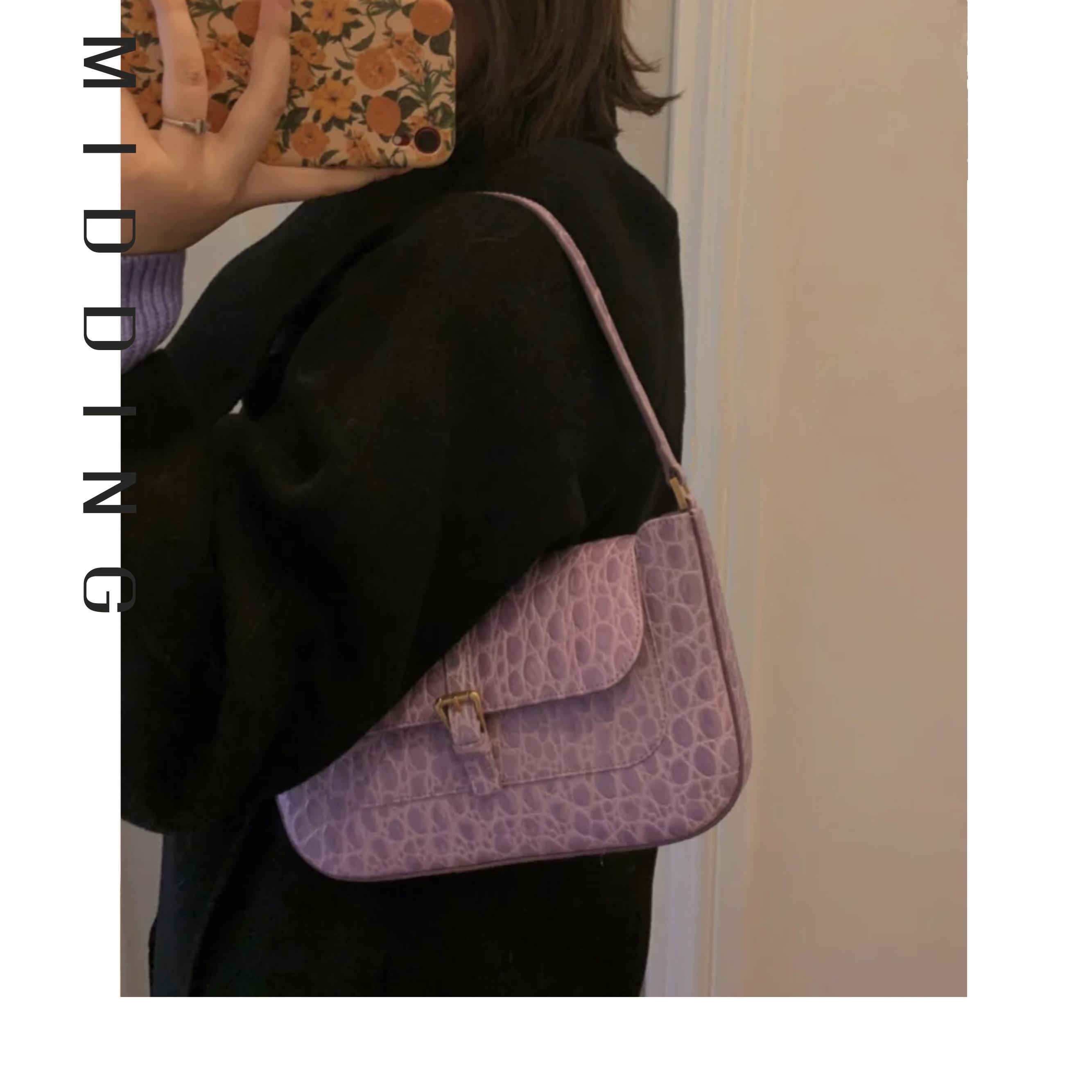 紫色手提包 Middling定制神仙色紫色石头纹miranda腋下包法棍真皮单肩手提包_推荐淘宝好看的紫色手提包