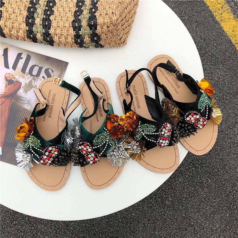 平底鞋 超洋气韩国民族风重工艺手工穿珠20新款时尚花朵沙滩平底拖凉鞋女_推荐淘宝好看的女平底鞋