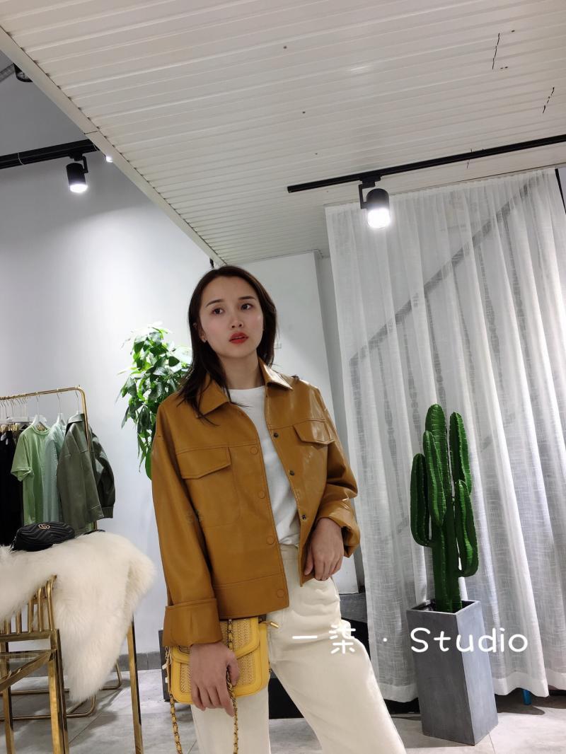 黄色皮衣 ONE SEVEN STUDIO女装黄色皮衣短外套港风小姐姐_推荐淘宝好看的黄色皮衣
