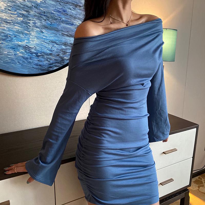 包臀修身连衣裙 17sui一字领性感修身纯色袖口开叉褶皱包臀连衣裙短裙_推荐淘宝好看的包臀修身连衣裙