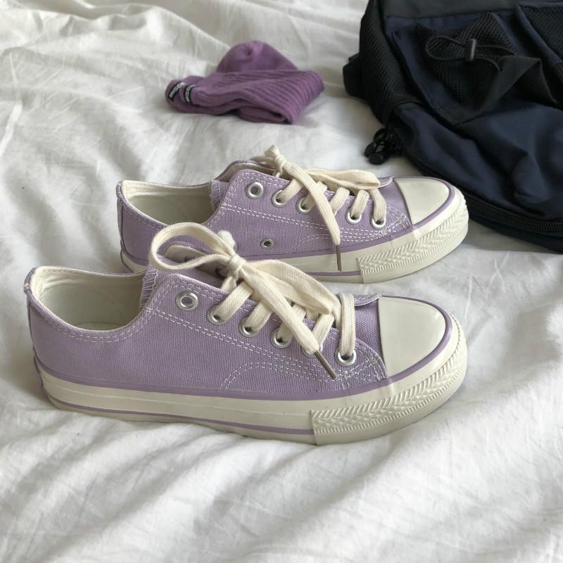 紫色平底鞋 低帮紫色帆布鞋女ulzzang学生原宿百搭chic韩版平底休闲板鞋ins潮_推荐淘宝好看的紫色平底鞋