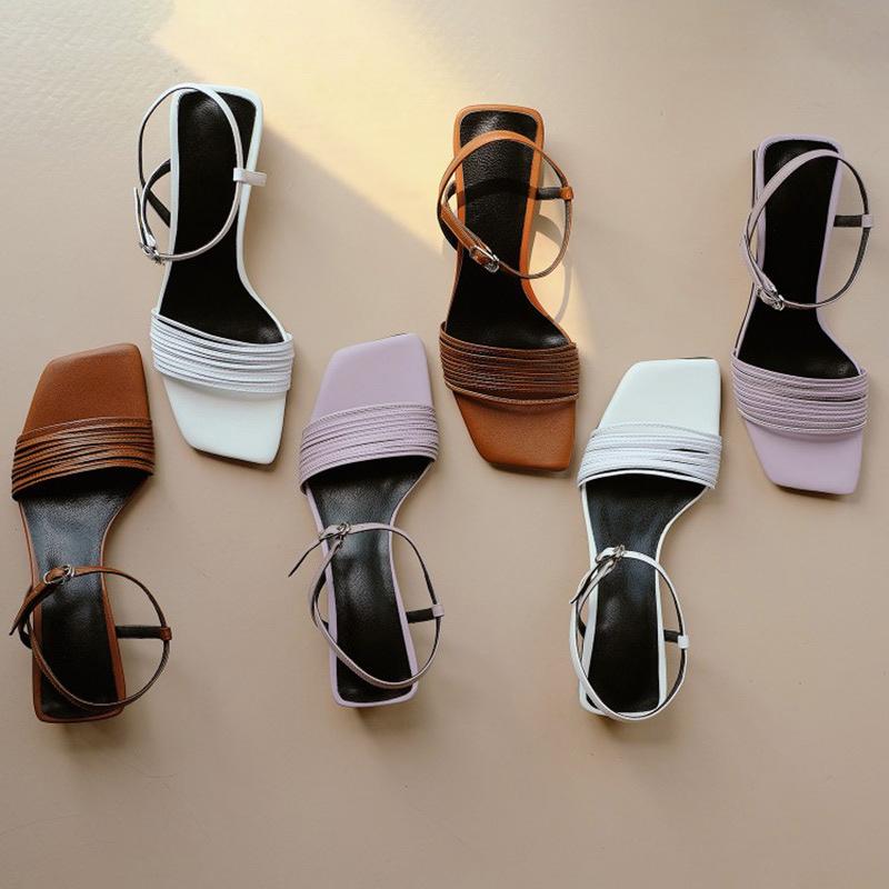 紫色罗马鞋 2021新品紫色凉鞋夏粗跟仙女风韩版百搭细带中跟一字带罗马女鞋_推荐淘宝好看的紫色罗马鞋