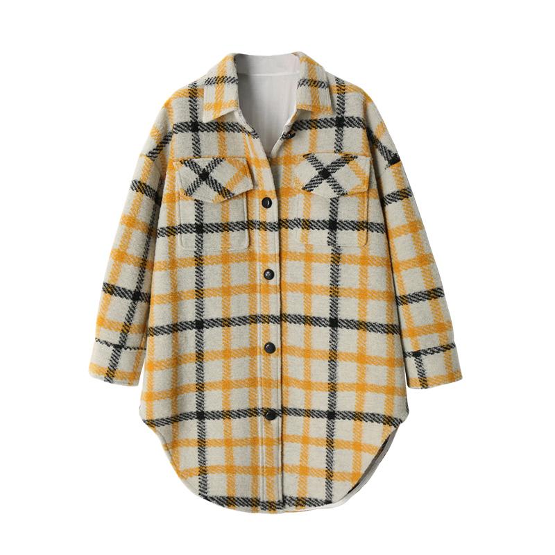 长款格子衬衫 XC 加厚格子长款衬衫 秋冬中长款撞色格纹宽松毛呢大衣复古外套女_推荐淘宝好看的女长款格子衬衫