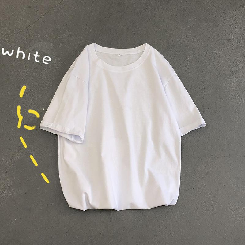 白色T恤 夏季纯白五分袖男简约百搭港风上衣服男短袖t恤男ins潮流宽松半袖_推荐淘宝好看的白色T恤