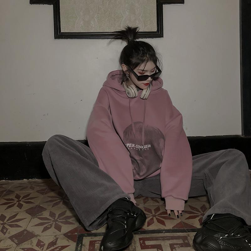 紫色卫衣 migu原宿港风紫色oversize卫衣女宽松bf慵懒风加厚加绒连帽套头潮_推荐淘宝好看的紫色卫衣