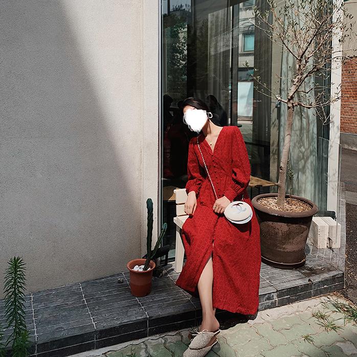 秋季新款连衣裙 摩洛哥长袖红色连衣裙显瘦女装2020春秋季新款中长款v领回门裙子_推荐淘宝好看的秋季新款连衣裙