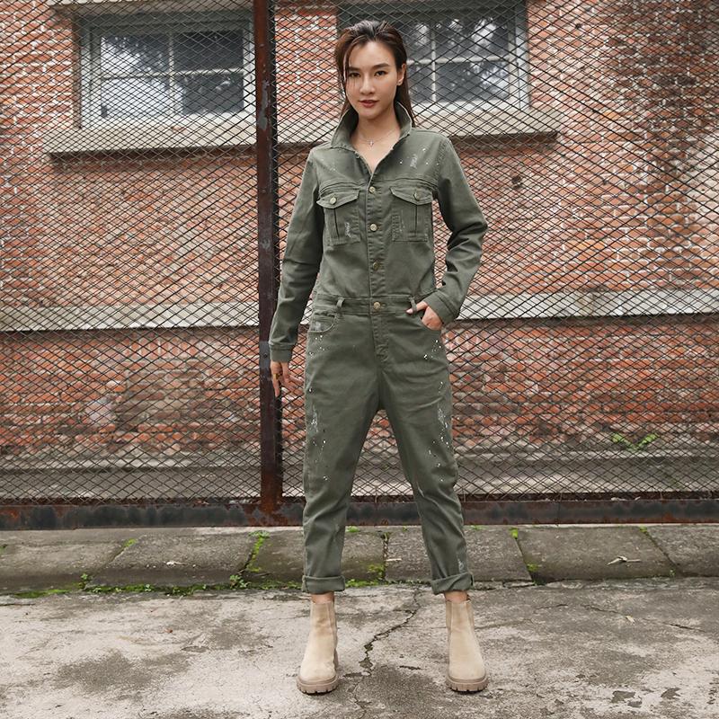 绿色牛仔裤 2021春秋新款复古油漆牛仔工装连体裤女个性潮流显瘦军绿色连衣裤_推荐淘宝好看的绿色牛仔裤