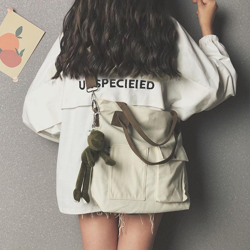 白色手提包 大容量帆布包包女2019新款潮韩版斜挎包女百搭ins学生单肩手提包_推荐淘宝好看的白色手提包