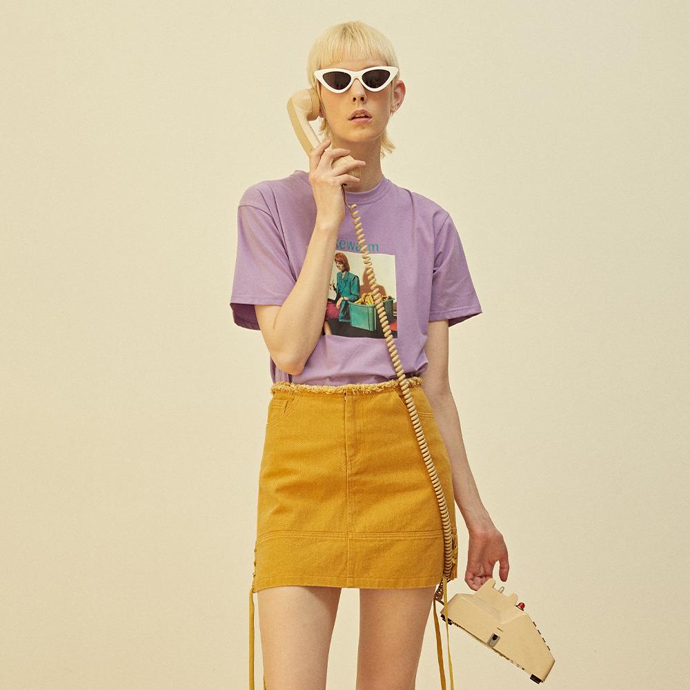 短袖t恤 LEEMONSAN枺上18夏季短袖T恤创意印花宽松透气时尚上衣女FS18033_推荐淘宝好看的女短袖t恤