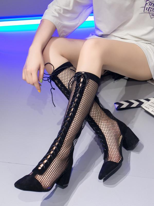 镂空罗马鞋 2020春夏新款长靴高筒凉鞋长筒罗马凉靴网靴镂空高跟鞋网红靴子女_推荐淘宝好看的镂空罗马鞋