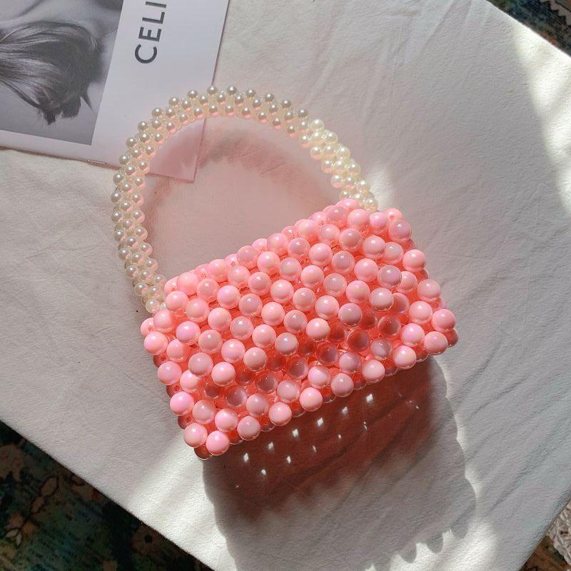 粉红色迷你包 手工编织包包diy串珠子材料包粉红色串珠包自制作可爱迷你手提包_推荐淘宝好看的粉红色迷你包