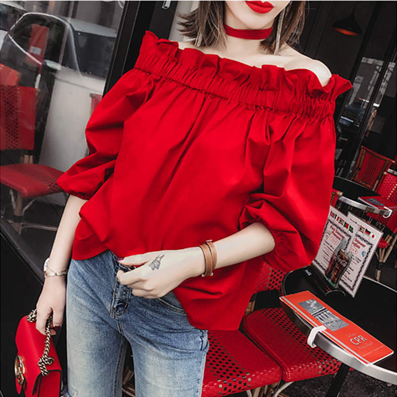 红色雪纺衫 2021春装新款韩版露肩显瘦女上衣红色荷叶边性感一字肩衬衫雪纺衫_推荐淘宝好看的红色雪纺衫