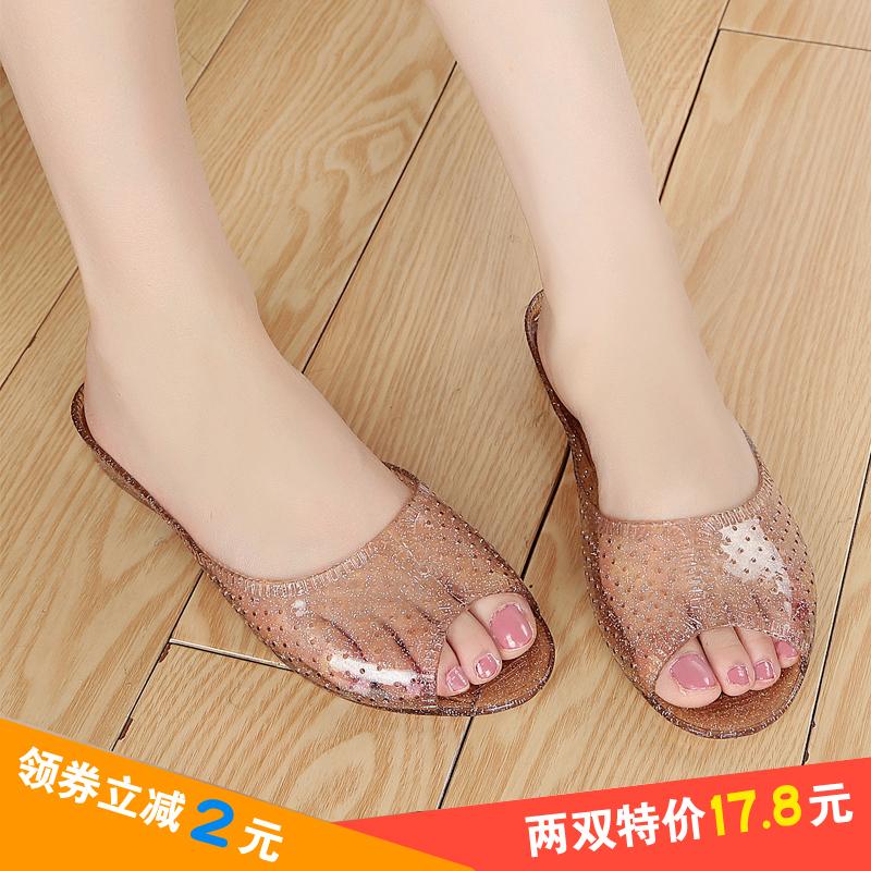 凉鞋 夏季新款浴室拖鞋女水晶果冻凉鞋家居室内拖女塑料橡胶防滑妈妈鞋_推荐淘宝好看的女凉鞋