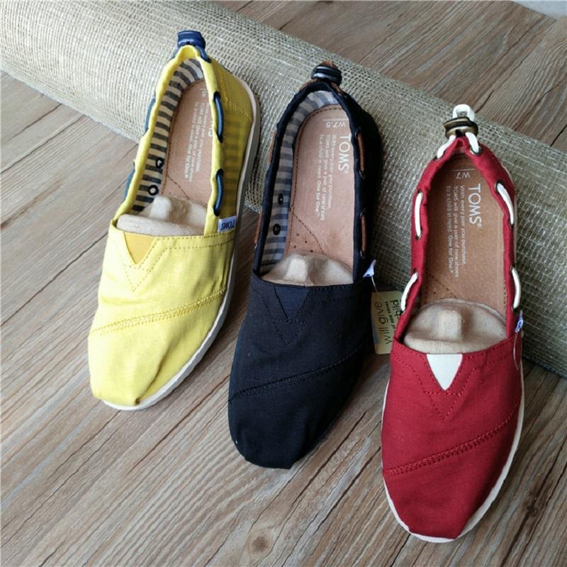 纯色帆布鞋 TOMS夏季纯色皮绳帆布鞋浅口船鞋一脚蹬懒人鞋平底休闲女鞋_推荐淘宝好看的女纯色帆布鞋
