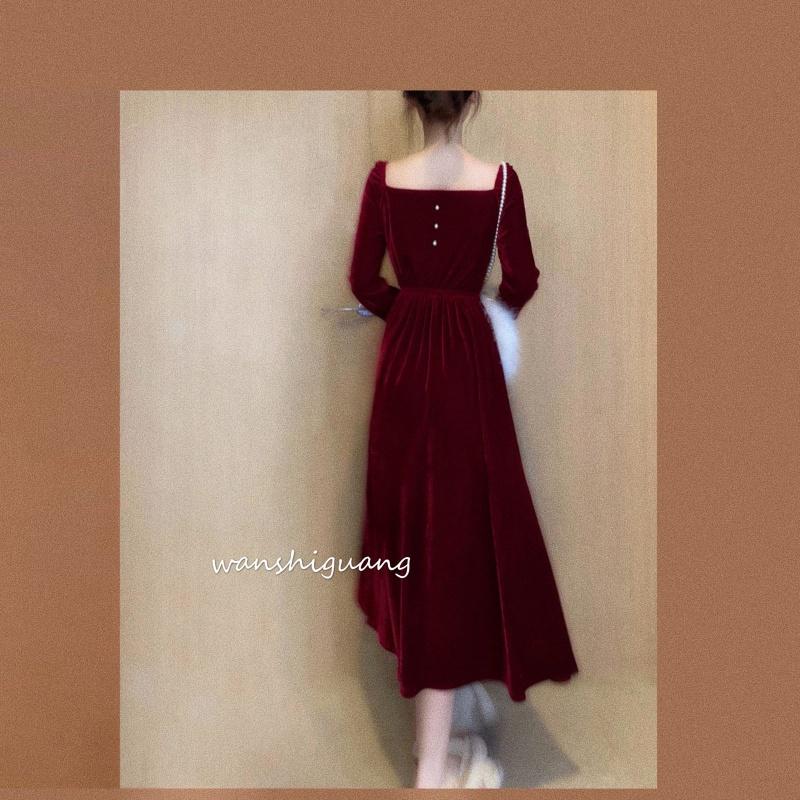 长袖连衣裙 晚时光2020春法式复古方V领连衣裙长袖显白酒红丝绒宫廷风中长裙_推荐淘宝好看的长袖连衣裙