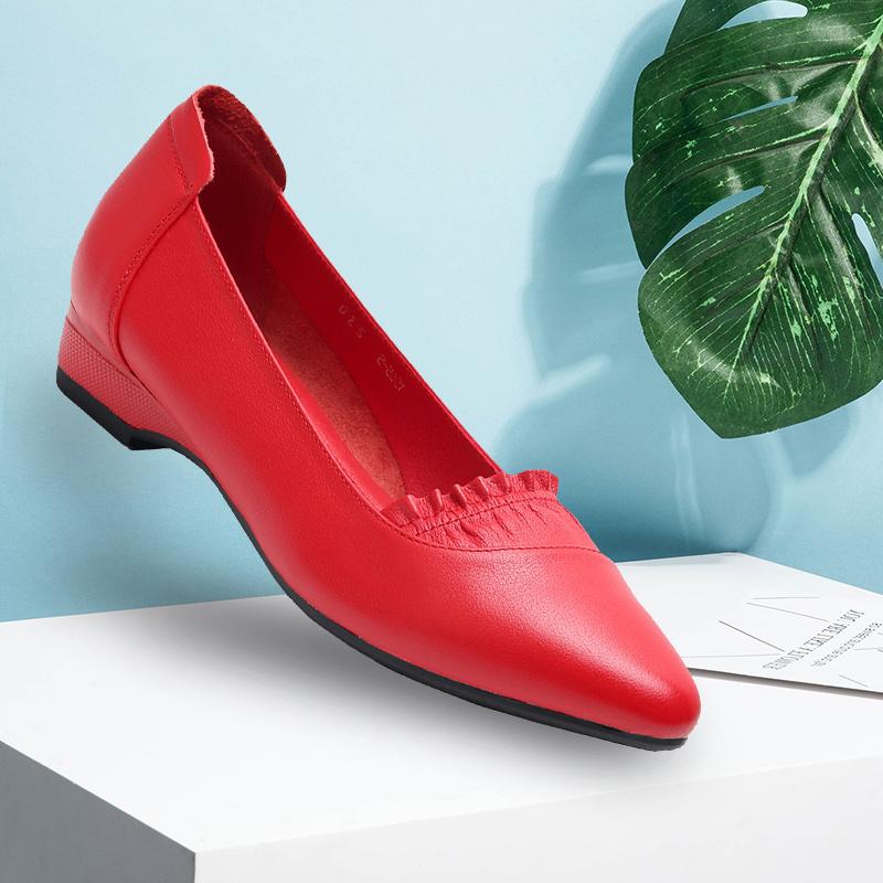 红色坡跟鞋 红色低跟妈妈单鞋女2021春夏新款牛皮真皮妈妈鞋套脚坡跟软底女鞋_推荐淘宝好看的红色坡跟鞋
