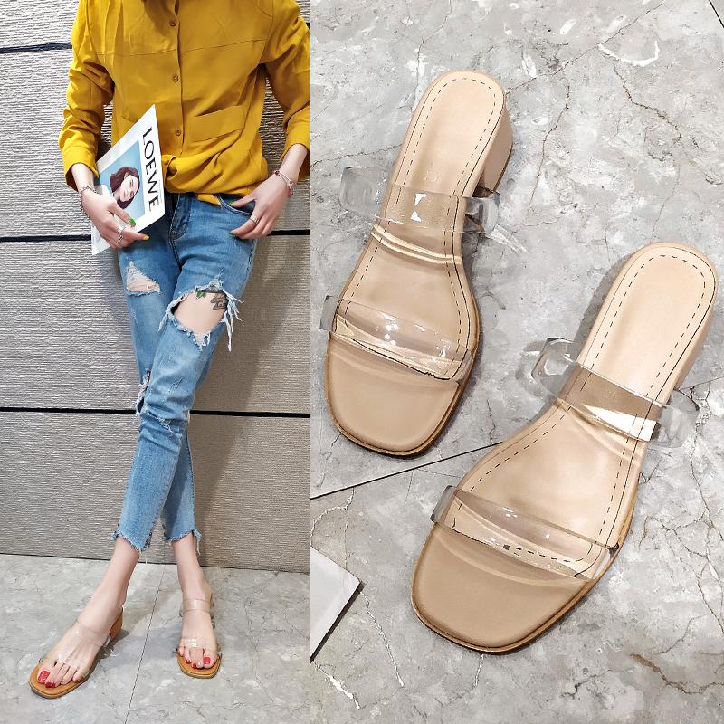 白色鱼嘴鞋 2020夏季新款韩版女凉拖中跟粗跟露趾凉鞋百搭白色女凉鞋女士拖鞋_推荐淘宝好看的白色鱼嘴鞋