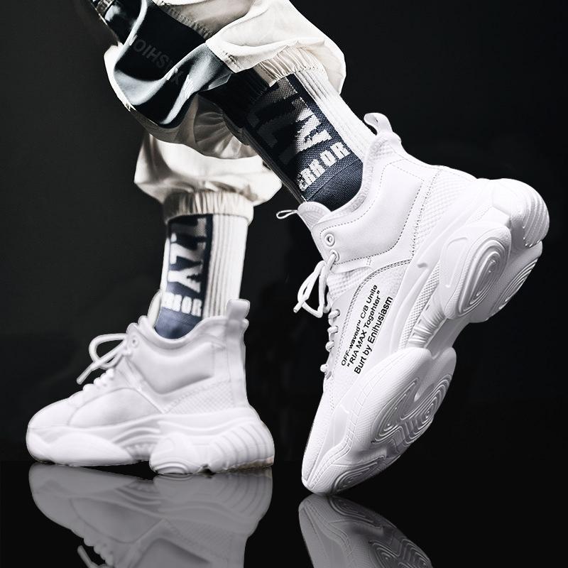 白色运动鞋 男鞋秋季新款2021白色运动春秋鞋子男潮鞋休闲增高白鞋男士老爹鞋_推荐淘宝好看的白色运动鞋