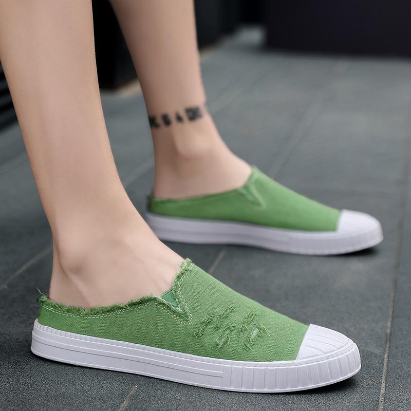 绿色豆豆鞋 夏季懒人半托帆布鞋男拖鞋无后跟男鞋豆豆潮鞋子军绿色老北京布鞋_推荐淘宝好看的绿色豆豆鞋