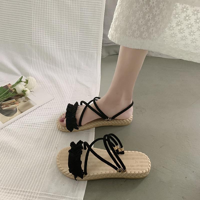 女凉鞋 凉鞋女仙女风2020年新款夏时尚百搭ins潮两穿网红凉拖沙滩平底鞋_推荐淘宝好看的女凉鞋