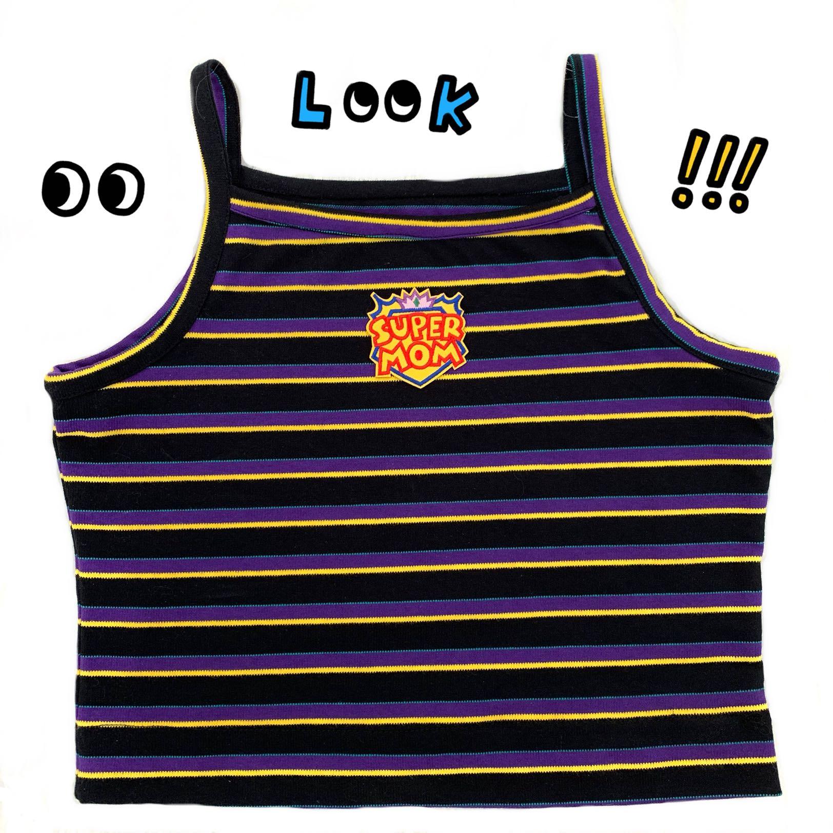 紫色背心 自制Super mom紫色横纹吊带背心夏季外穿显瘦修身短款打底衫女_推荐淘宝好看的紫色背心