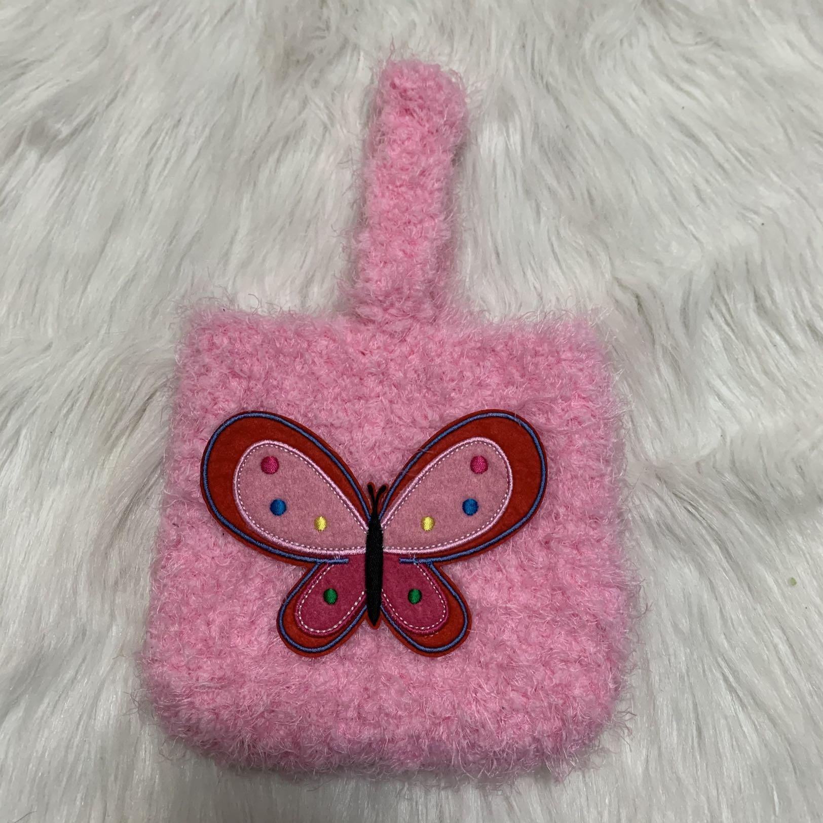 粉红色手拿包 原创自制土酷蹦迪可爱蝴蝶粉红色手拿包手拎包可爱柔软编织包_推荐淘宝好看的粉红色手拿包