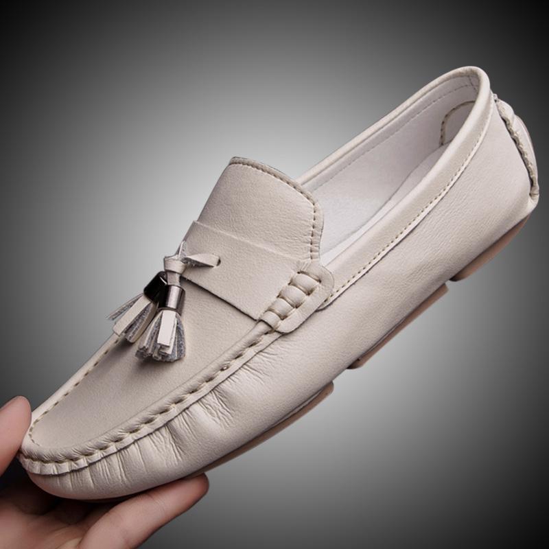 白色豆豆鞋 2021夏季软底豆豆鞋男真皮商务休闲鞋韩版潮懒人百搭白色流苏皮鞋_推荐淘宝好看的白色豆豆鞋