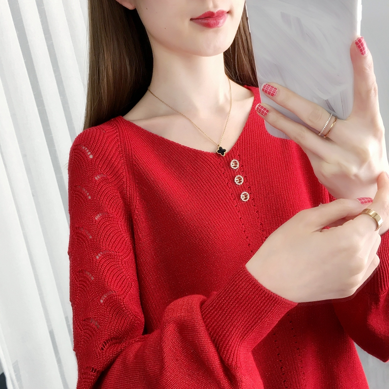 镂空针织衫罩衫 镂空毛衣女宽松洋气上衣轻熟2021早春款新款亮丝针织薄款长袖罩衫_推荐淘宝好看的镂空针织衫罩衫