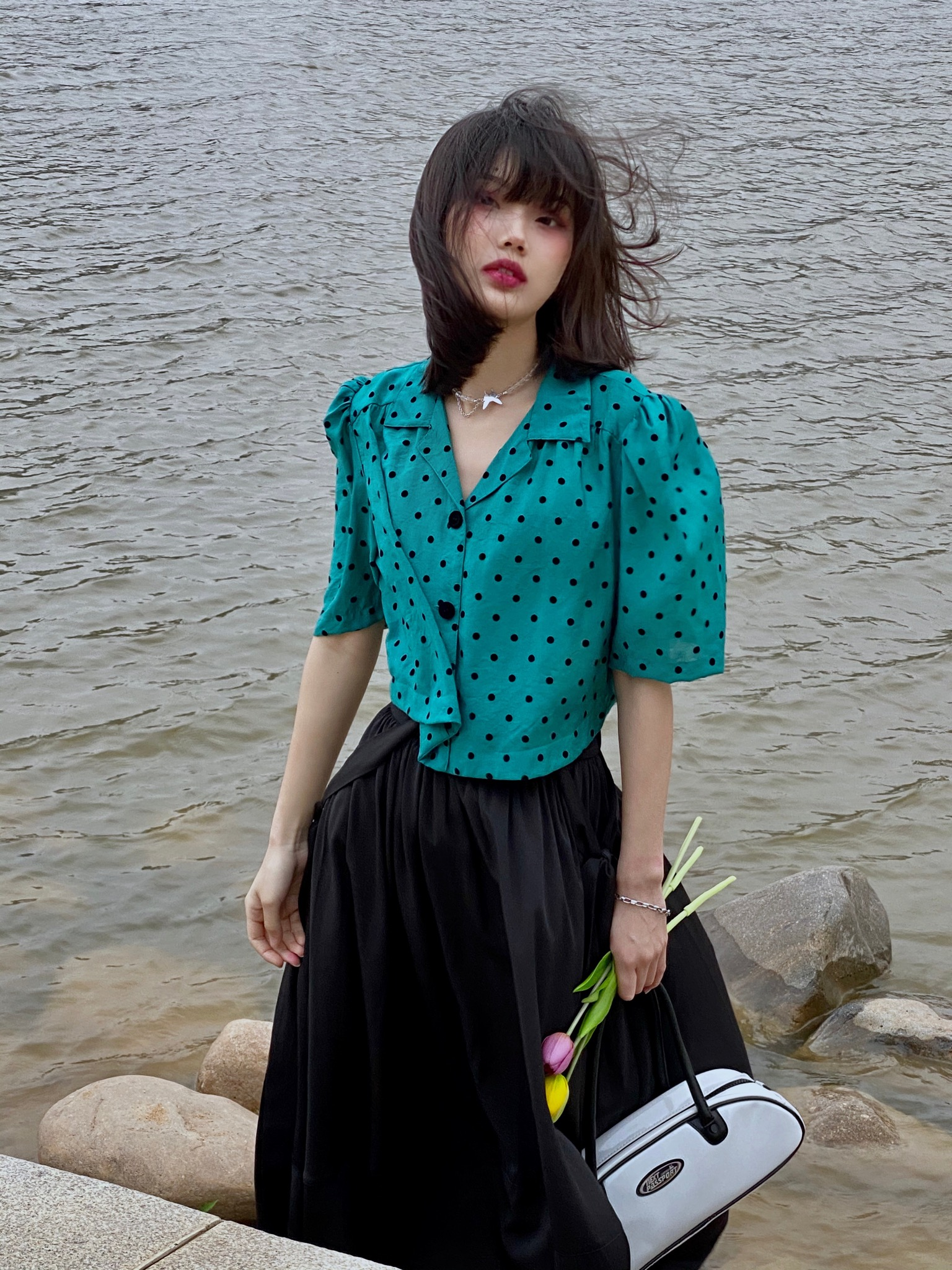 女款短袖衬衫 英雄所lvetong原创宫廷感泡泡袖孔雀绿波点短袖衬衫复古少女小众_推荐淘宝好看的女短袖衬衫