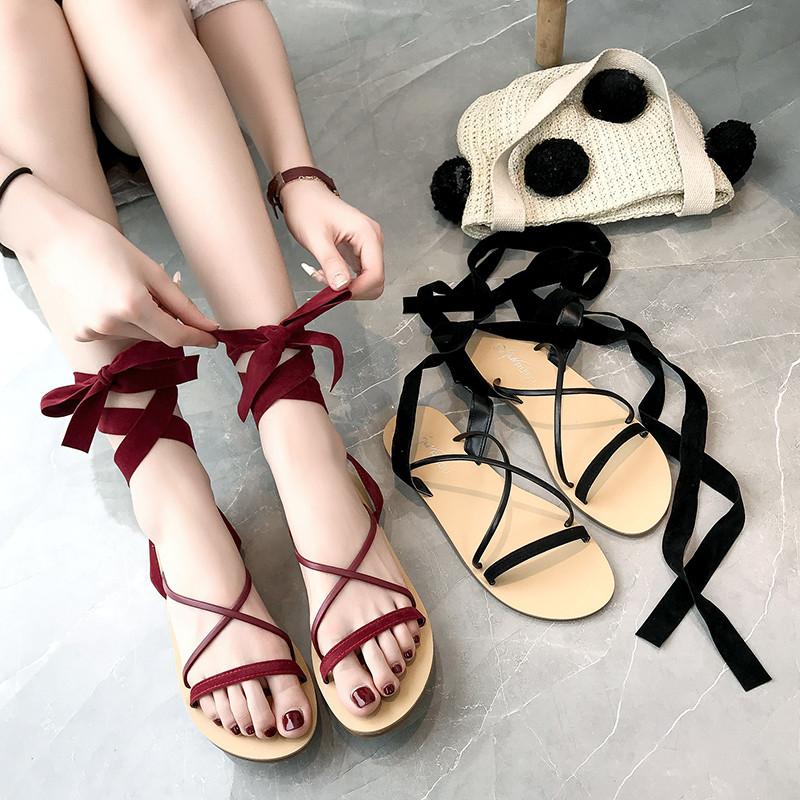 红色罗马鞋 芭蕾凉鞋女2020新款夏季系带仙女鞋ins潮学生时尚红色平底罗马鞋_推荐淘宝好看的红色罗马鞋