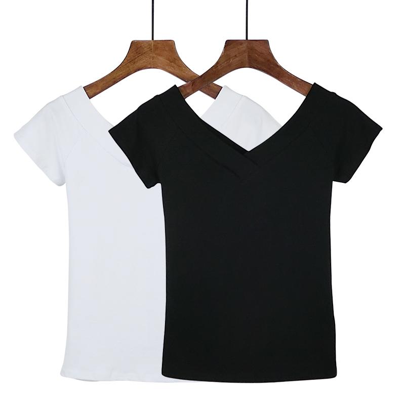 女短袖t恤 2020夏季大V领前后双V露肩t恤女上衣紧身短袖打底衫修身纯棉女装_推荐淘宝好看的女短袖t恤