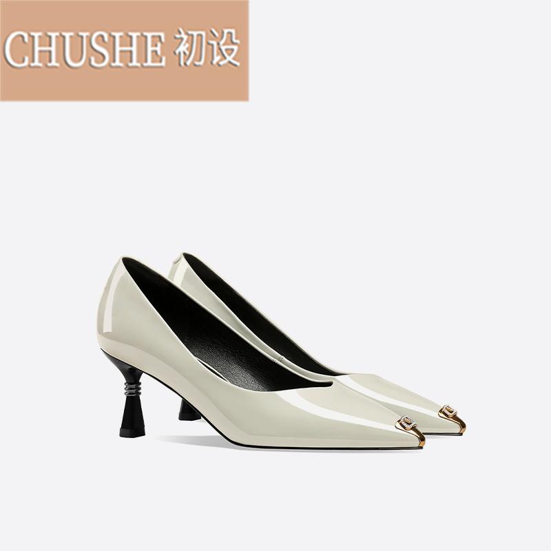 淘宝网高跟鞋 女浅口2021年新款春季时尚百搭尖头漆皮法式高跟鞋女亮皮ZX0410_推荐淘宝好看的女高跟鞋